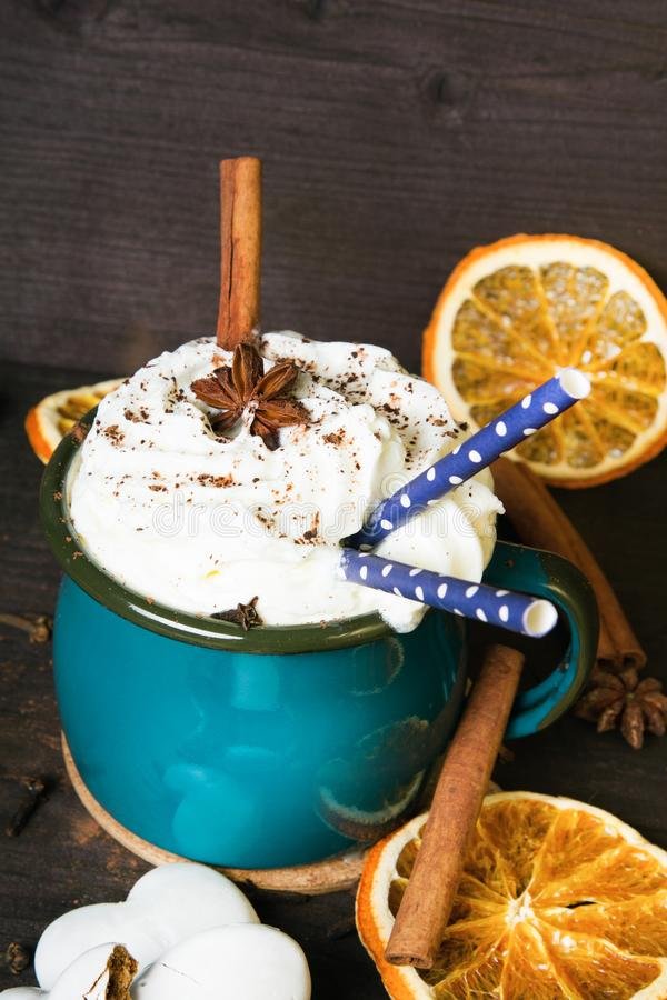 Christmas Coffee Cup With Whipped Cream, Cinnamon, Cocoa ...