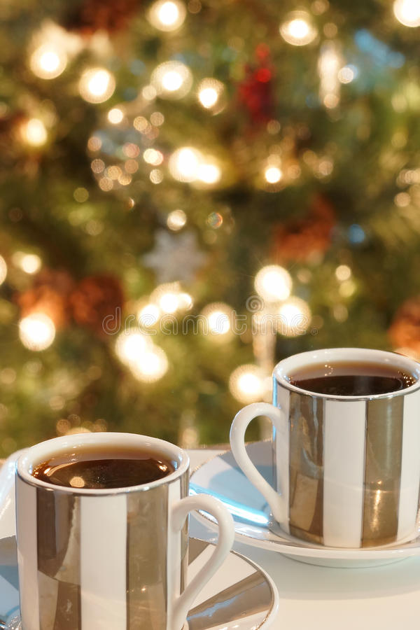 Christmas Coffee Espresso Cups stock photo