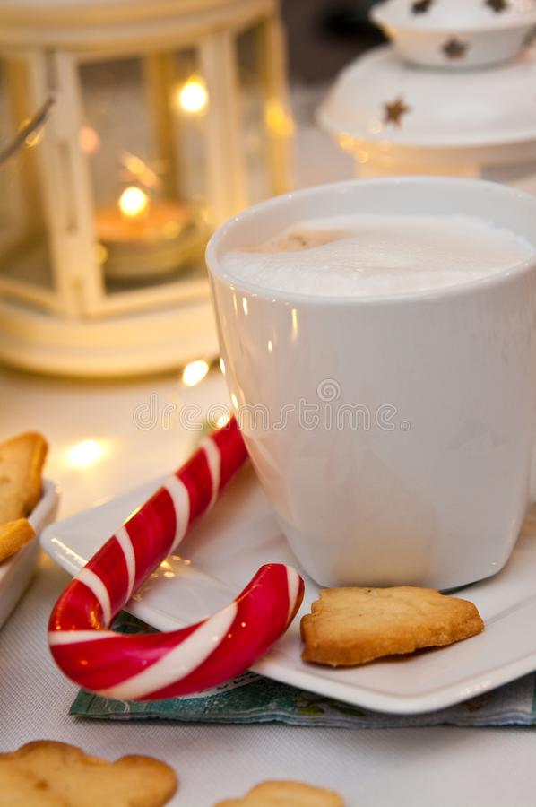 Christmas and coffee still life abstract with warm led lights stock photography