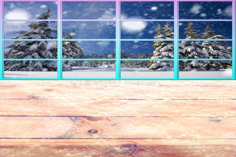 Christmas on a cold winter frozen wooden table with a colorful window framework and snow forest landscape stock images