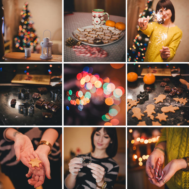Christmas collage about baking christmas cookies at home royalty free stock photo