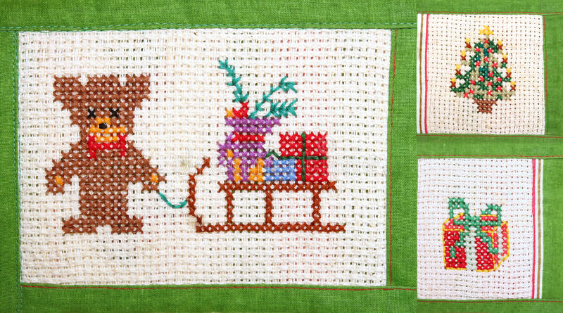 Christmas collage - embroider. Christmas collage, embroider - cross stitch stock photos