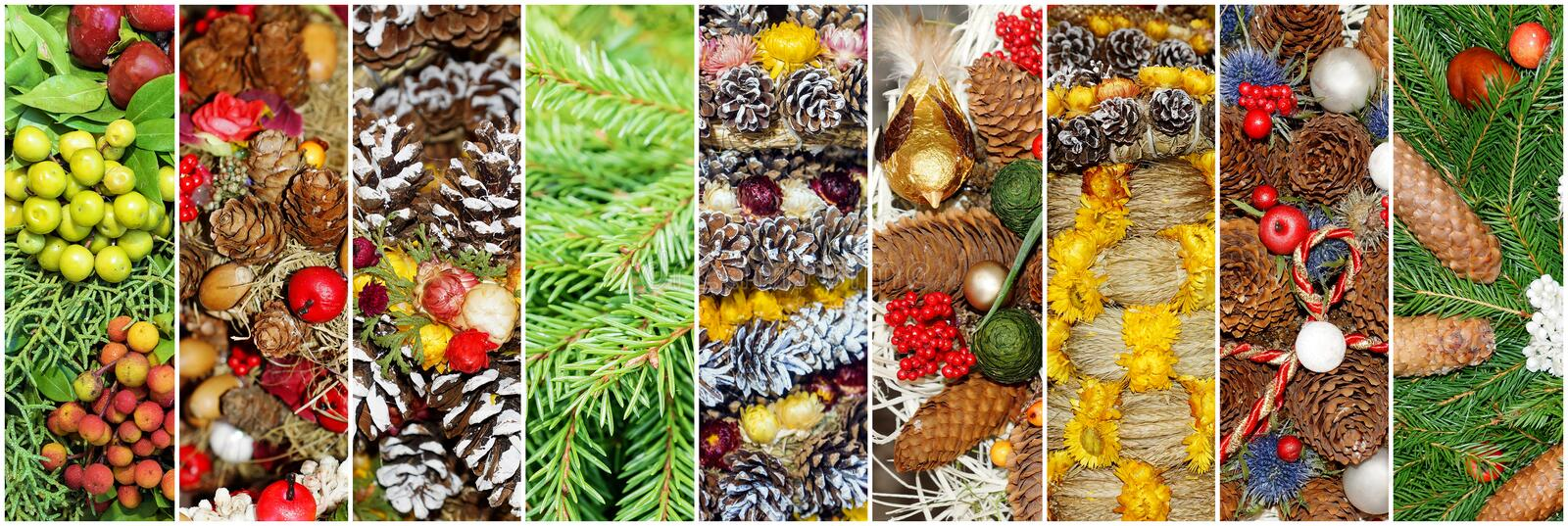 Christmas collage from fir-tree branches and decoration. royalty free stock image