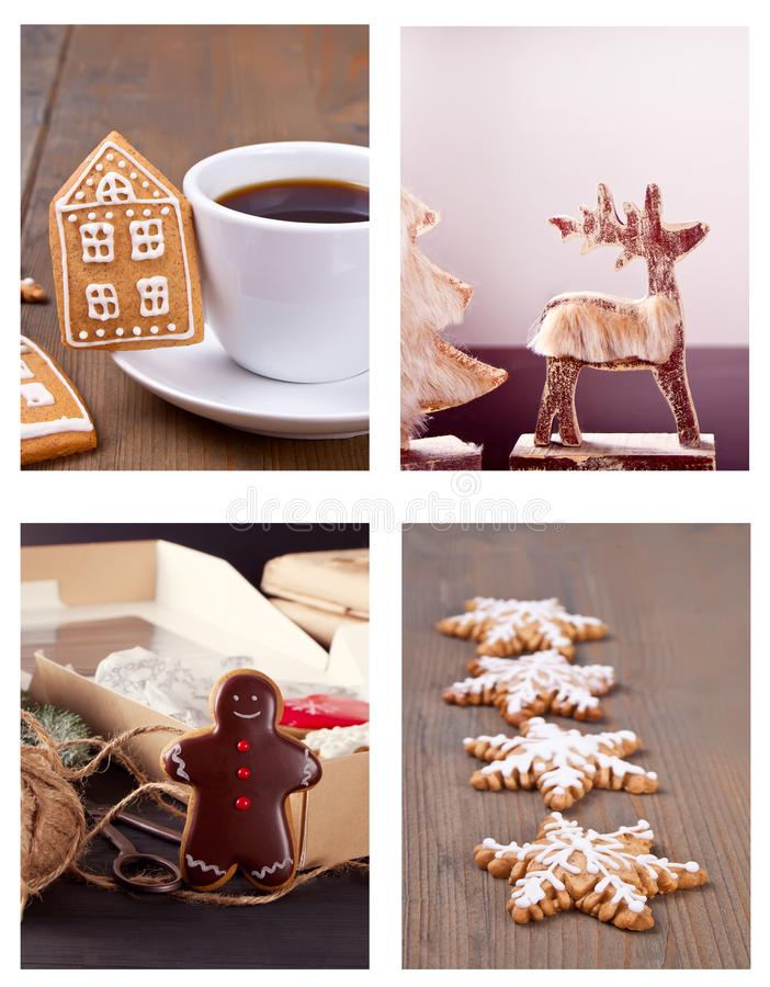 Christmas collage made of four photos. Cup of coffee, cookies and other stock photo
