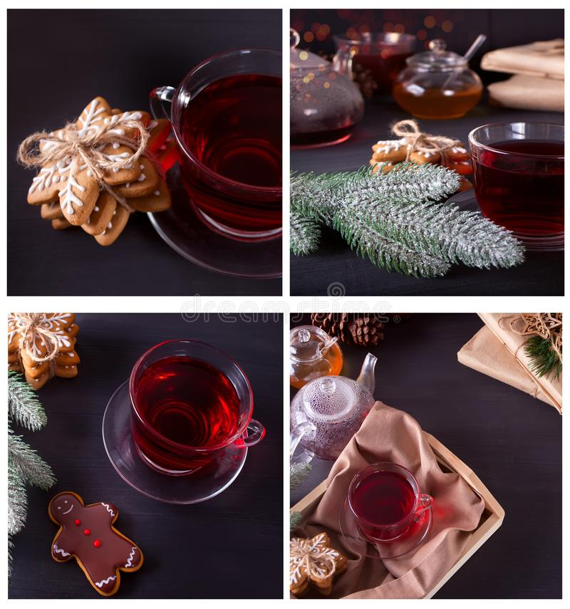 Christmas collage made of four photos. Cup of tea, cookies, teapot and gifts royalty free stock photo