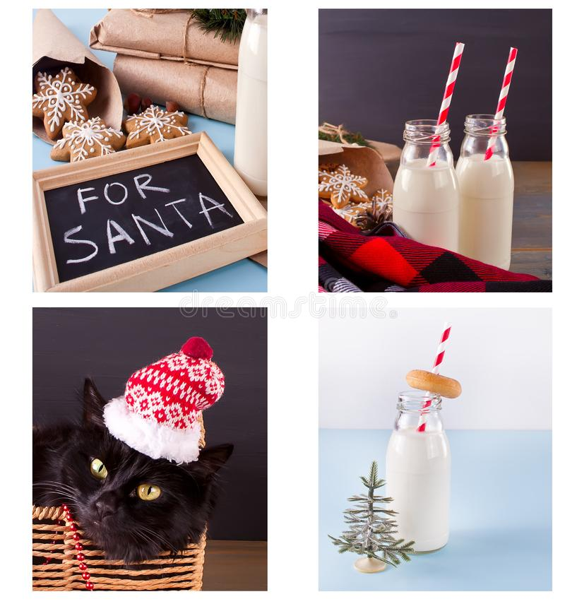 Christmas collage made of four photos. Cute black cat in funny hat, gifts, bottles with milk, cookies for Santa royalty free stock photos