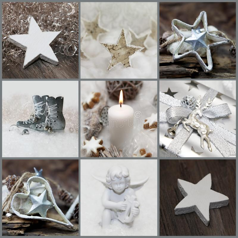 Christmas collage with white, silver and grey decoration stock photos