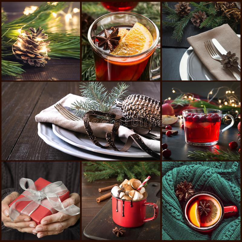 Christmas collage with xmas gifts, table setting, drinks, cozy mulled wine, marshmallow on dark. Xmas greeting card. Christmas collage with xmas gifts, table stock images