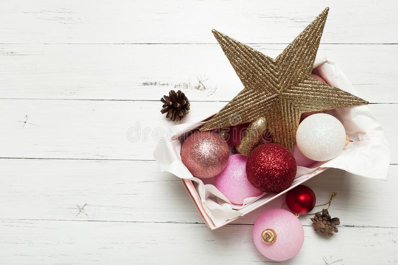 Christmas collection of Christmas toys in a cardboard box.  stock images