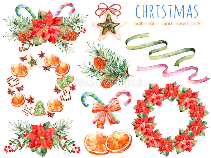 Christmas collection:wreaths,poinsettia,bouquets,orange,pine cone,ribbons,christmas cakes vector illustration