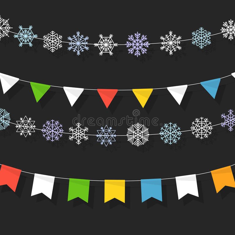 Christmas color garland collection. Christmas garland of color flags royalty free illustration