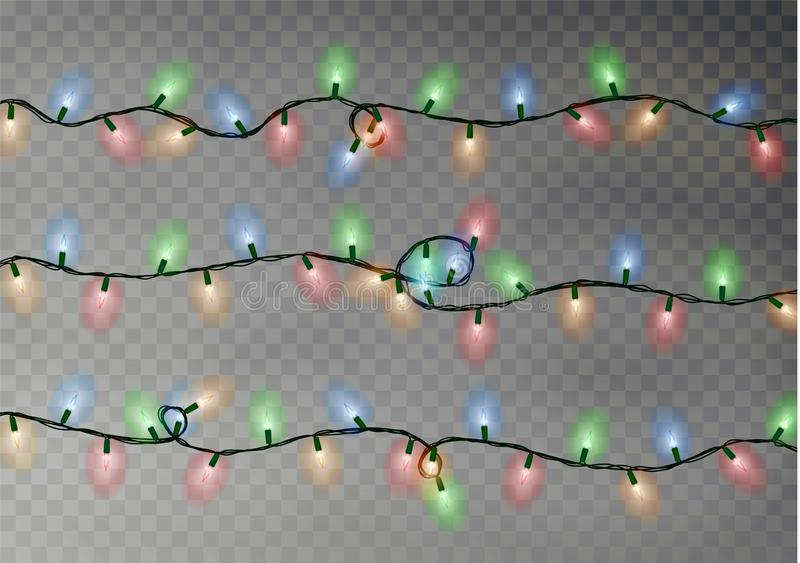 Christmas color lights string. Transparent effect decoration isolated on dark background. Realistic. Christmas garland vector. Winter xmas glowing lights string stock illustration