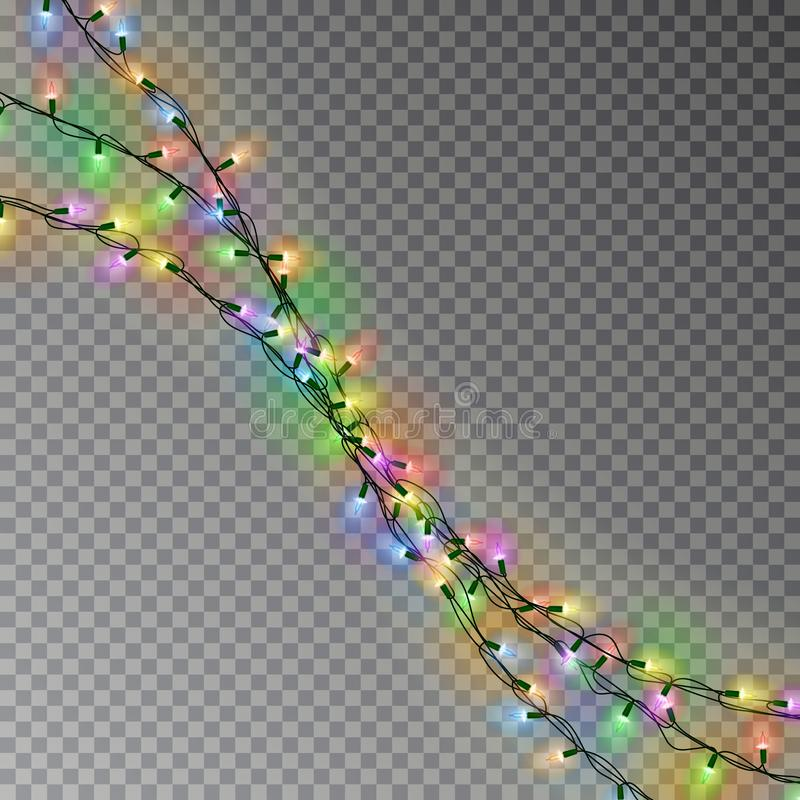 Christmas color lights string. Transparent effect decoration isolated on dark background. Realistic. Christmas garland vector. Winter xmas glowing lights string royalty free illustration
