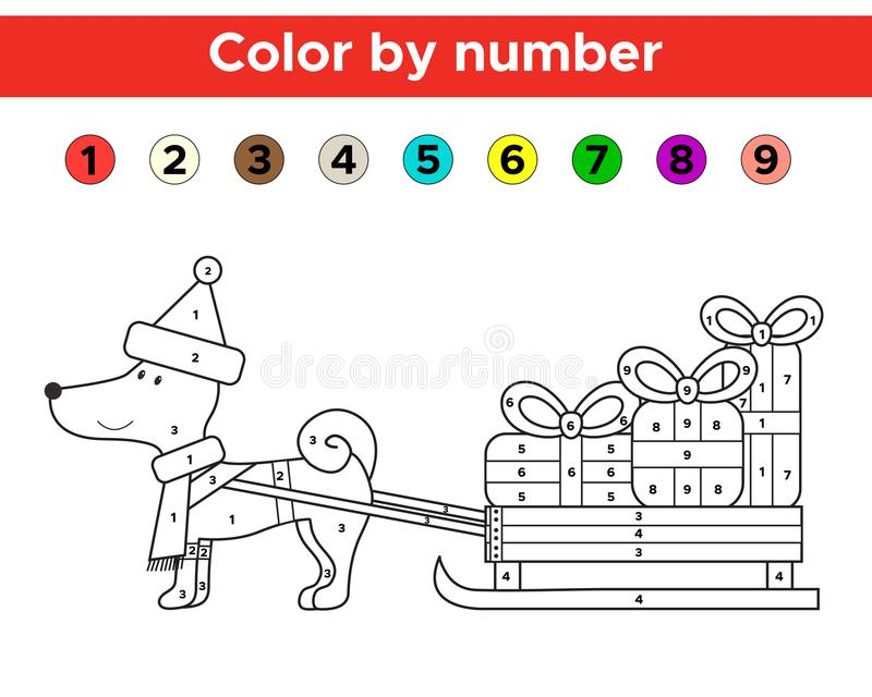 Christmas Color By Number For Preschool And School Kids. Stock ...