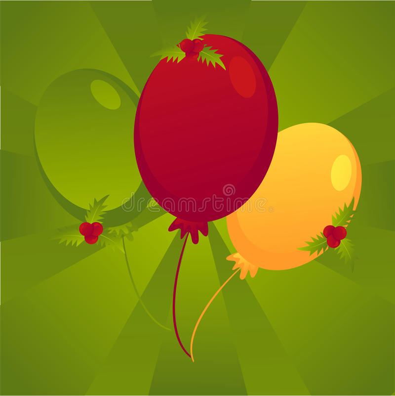 Christmas colored balloons background stock image