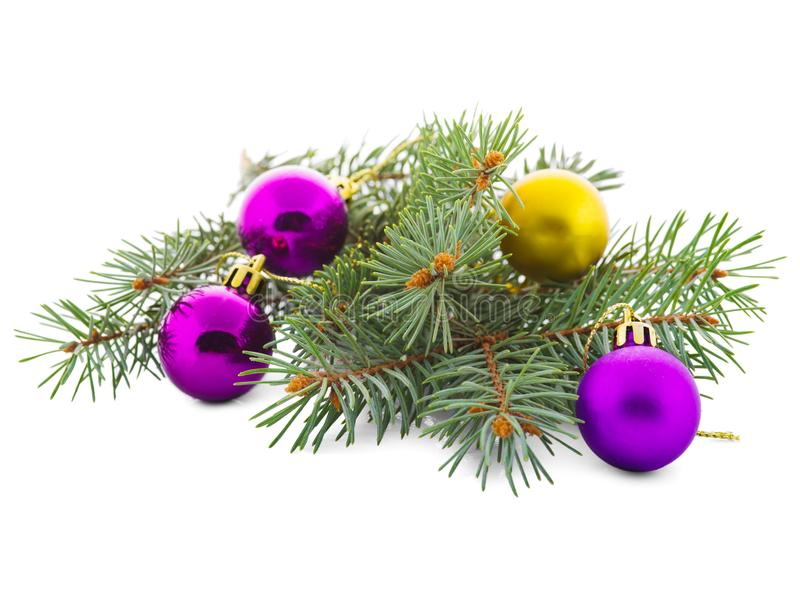 Christmas colored toys on a spruce branch isolated on a white background stock photo