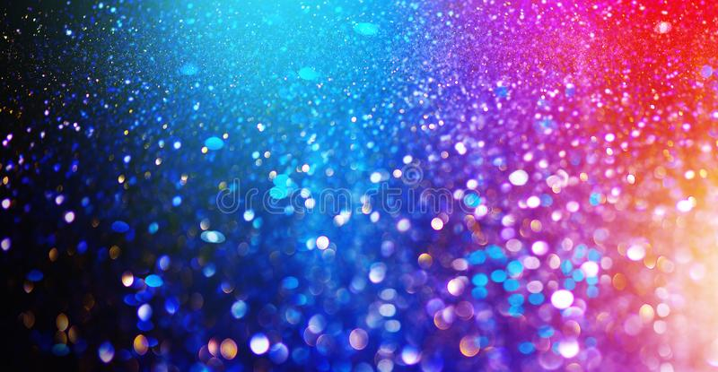 Christmas colorful background. Holiday glowing backdrop. Defocused Background With Blinking Stars. New Year Blurred Bokeh. Curtain, Abstract Colorful bright stock image