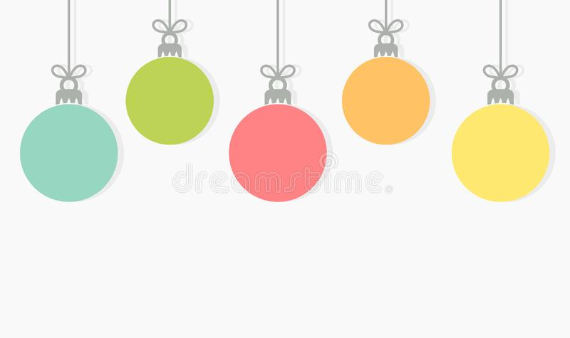 Christmas colorful balls hanging ornaments background vector illustration
