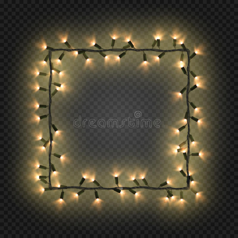 Christmas colorful bulbs, garland forming a square, vector. Festive blank quadratic frame with electric garland vector illustration
