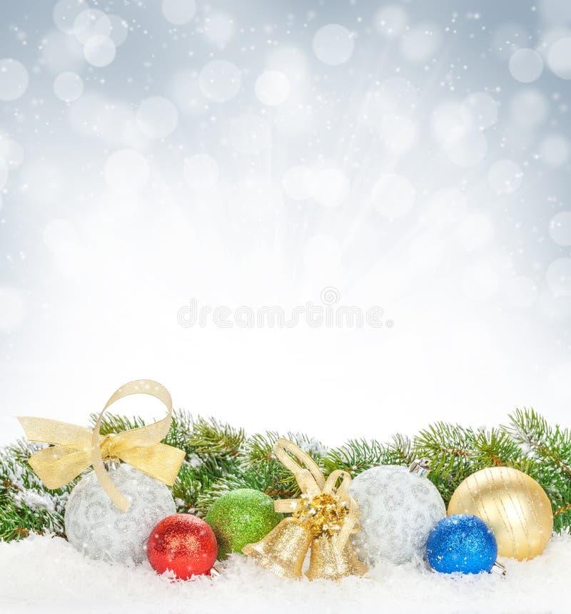 Free Christmas Colorful Decor And Snow Fir Tree Stock Photo - 46306120