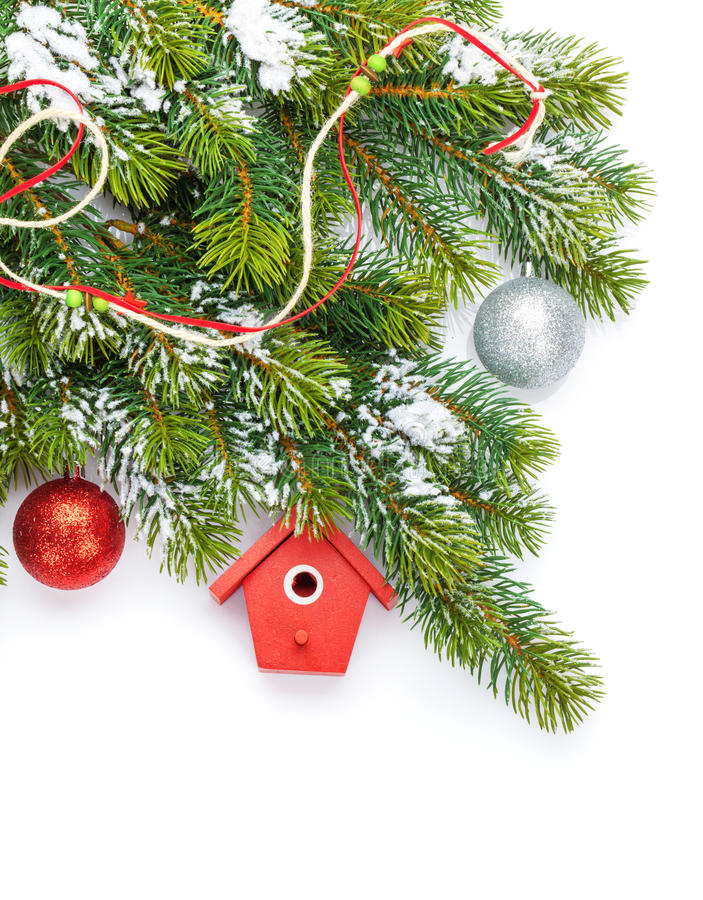 Free Christmas Colorful Decor And Snow Fir Tree Royalty Free Stock Image - 46306316