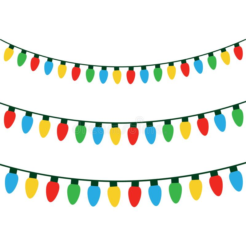 Christmas colorful lights on string. Colorful xmas light bulbs vector graphic illustration vector illustration