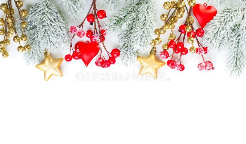 Christmas. Colorful Xmas border on white background.  stock photo