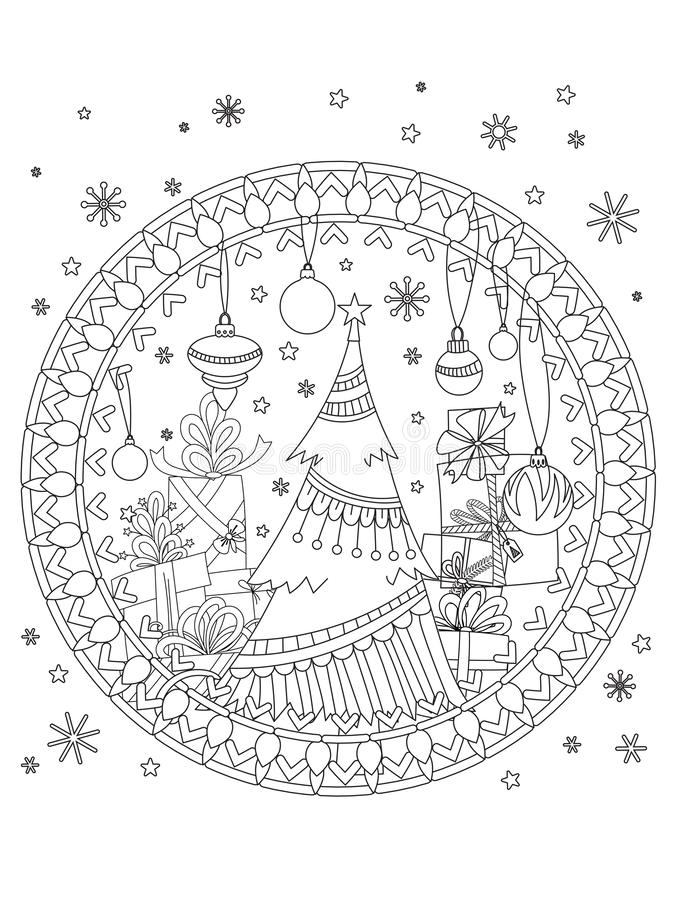 Christmas coloring page. Adult coloring book. Christmas tree, decoration, gift boxes, ribbons, balls and snowflakes. Hand drawn outline illustration vector illustration