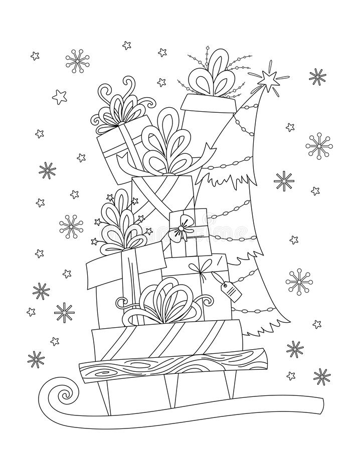 Christmas coloring page stock vector. Illustration of adult ...