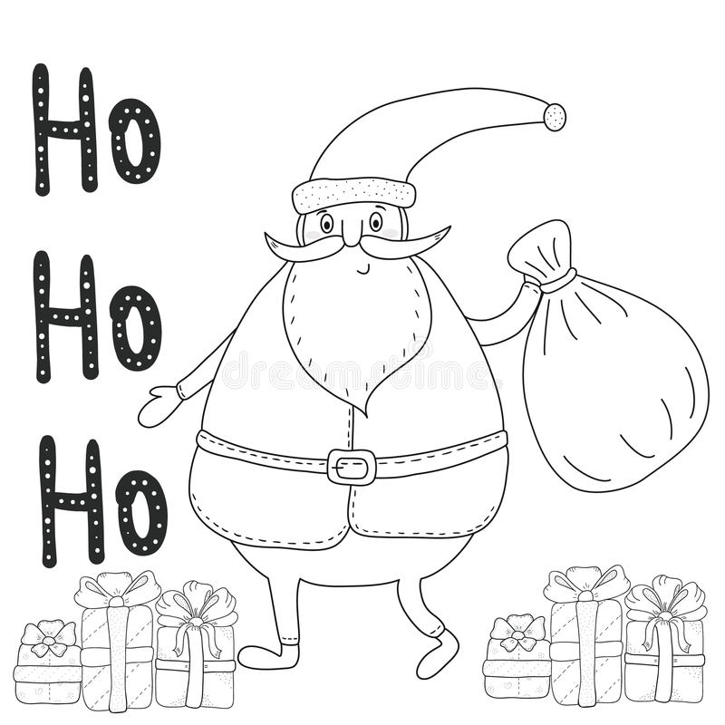 Christmas Coloring Page With Santa Claus, Gift Boxes Stock ...