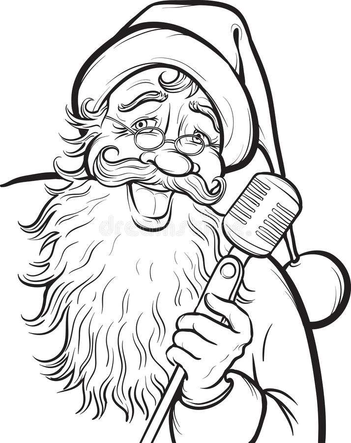 Christmas Coloring Page With Singing Santa Claus Stock Vector ...