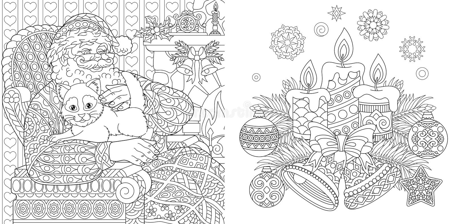 Christmas Colouring Pages. Coloring Book for adults. Santa Claus with a cat. New Year background. Vintage Xmas ornaments vector illustration