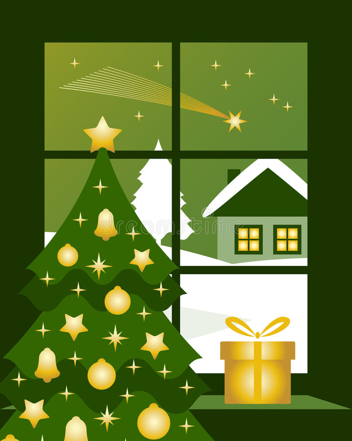 Download Christmas Comet Outside Window Stock Vector - Image: 22132388