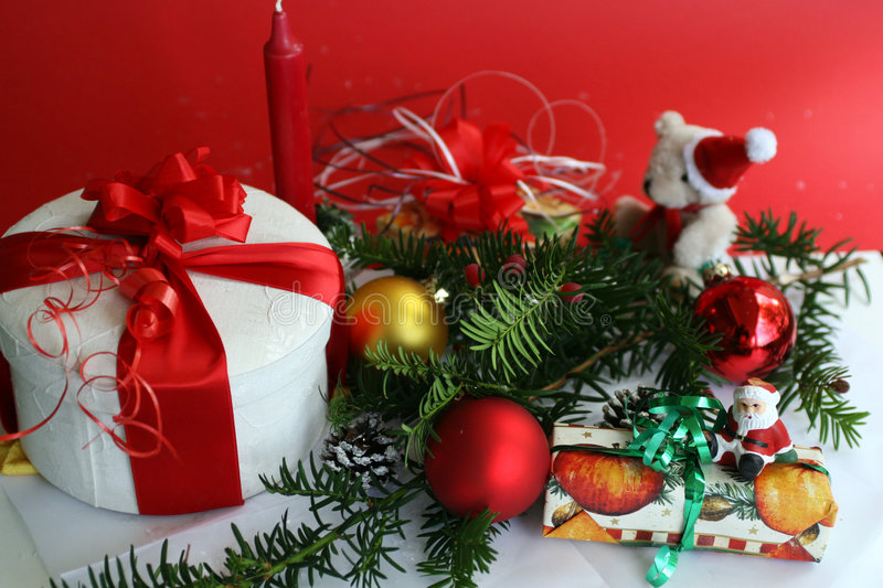 Christmas Coming!. The still life of christmas typical things stock images