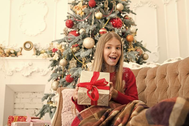 Christmas is coming. The morning before Xmas. Little girl. Happy new year. Winter. xmas online shopping. Family holiday. Christmas tree and presents. Child royalty free stock images