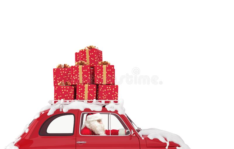 Santa Claus on a red car full of Christmas present drives to deliver royalty free stock image