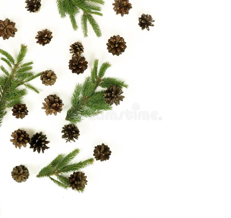 Christmas composition background fir branch and fir cones pattern stock photos