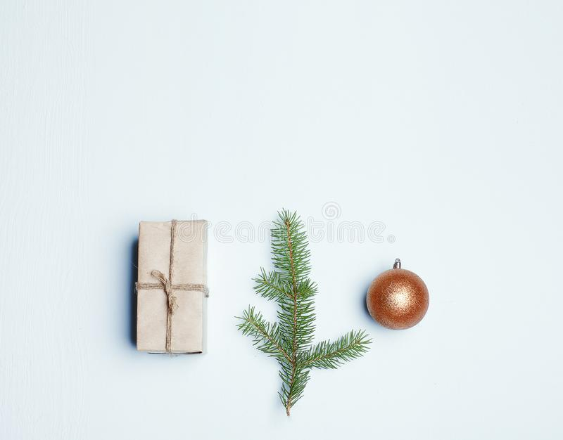 Christmas composition on background. Flat lay, top view royalty free stock photo