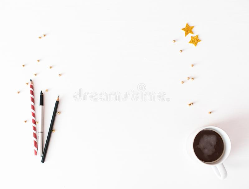 Download Christmas Composition Background Wallpaper Decorations Ornaments On White Stock Photo