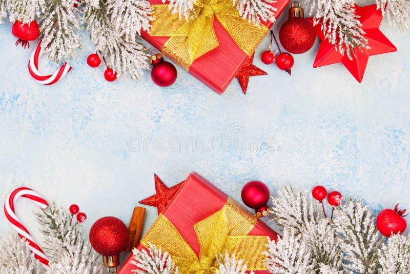 Christmas composition. Beautiful Xmas card background border.  royalty free stock photos