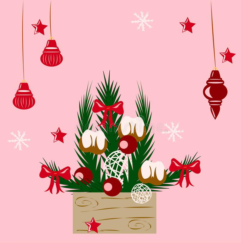 Christmas composition in the box stock illustration
