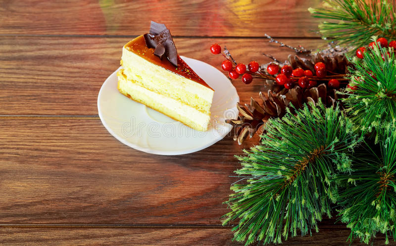 Christmas composition. cake New Year decoration. Christmas composition. Christmas cake pan de pasqua, red mug of tea and Christmas New Year decoration - fir royalty free stock image