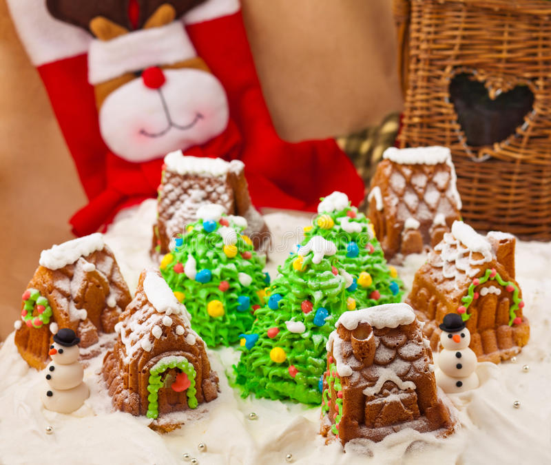 Christmas composition with cakes. Snowmans and deer royalty free stock images