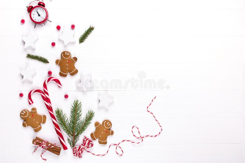 Christmas composition. Christmas background, mockup, postcard .Gift, christmas red and white decorations, pine branches and Ginger royalty free stock photos
