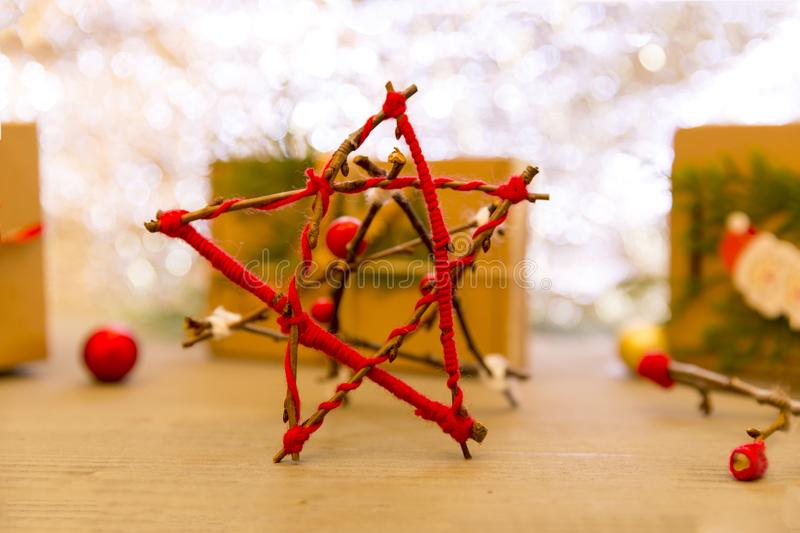 Christmas composition. Christmas gift, stars, fir tree branches. stock photos
