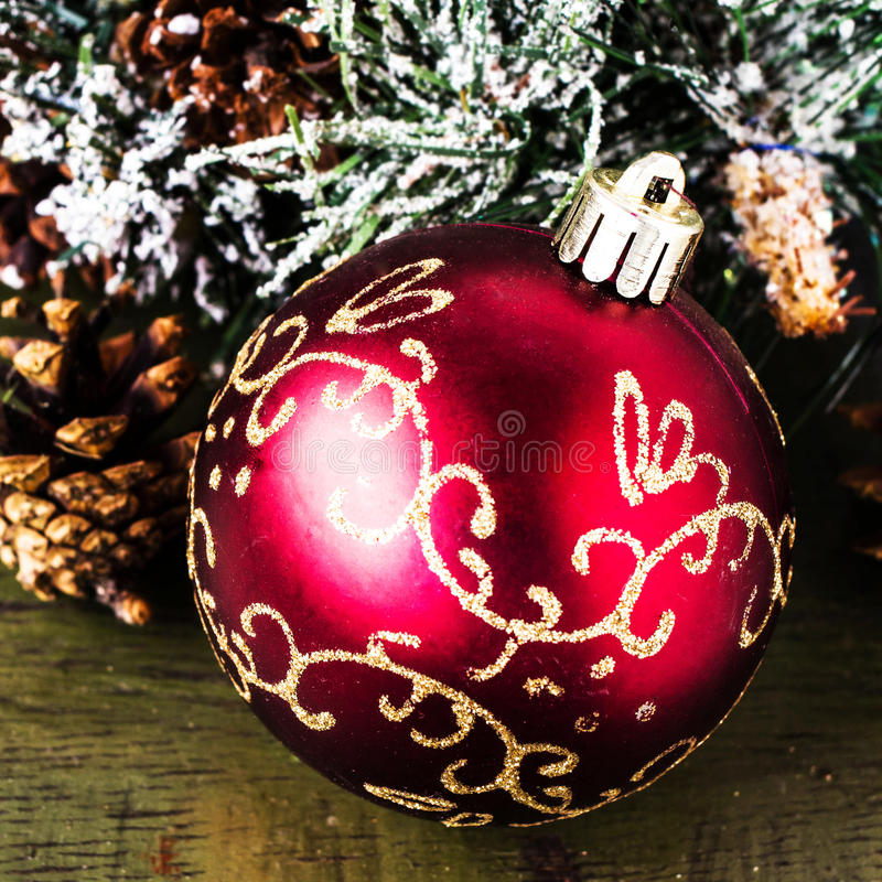 Download Christmas Composition With  Decorations  On Dark Wooden  Backgro Stock Images - Image: 34617174