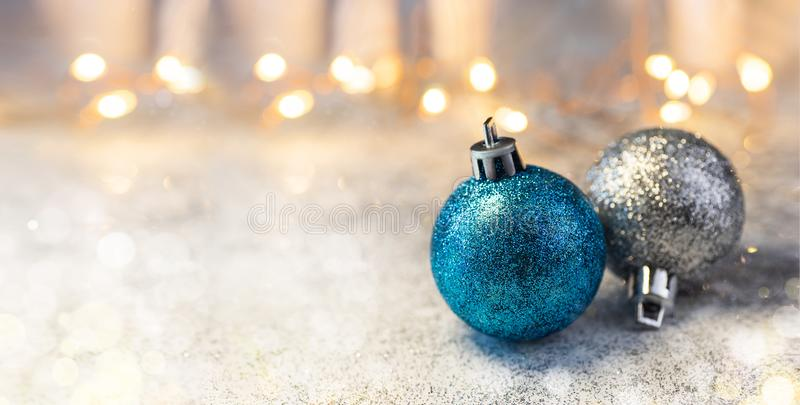 Christmas Composition decorations and garlands on a brilliant background stock image