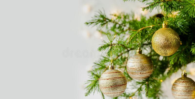 Christmas Composition decorations and garlands Fir Tree Branches stock image