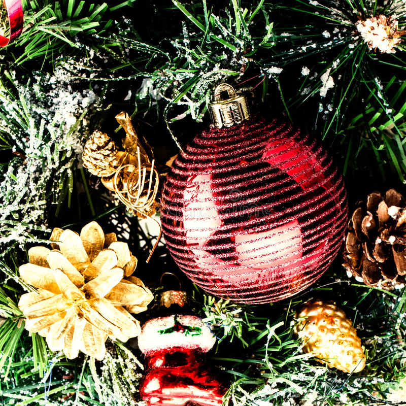 Christmas Composition With  Decorations Isolated On White Backgr Royalty Free Stock Image