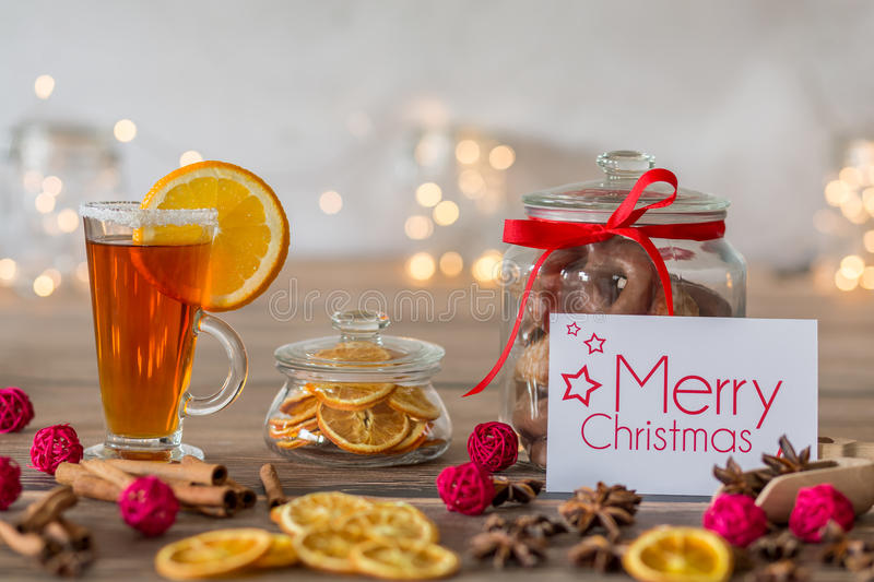 Christmas composition with decorative card royalty free stock photo